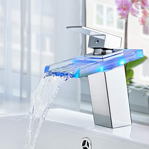 Auralum LED Glas Wasserhahn Wasserfall Waschtischarmatur Bad Armatur Waschbeckenarmatur Einhebelmischer Badarmatur mit 3 x Farbewechsel Beleuchtung für...