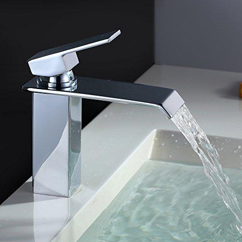 Homelody Chrom Waschtischarmatur Bad Wasserfall Wasserhahn Badarmatur Waschbeckenarmatur Einhebelmischer Waschtischbatterie Armatur für Bad (24,4 x 19,6 x...
