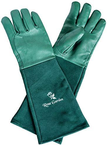 ACE 1 Paar Rose Garden Leder-Gartenhandschuhe - Garten- & Rosenhandschuhe für Damen/Herren - Extra Lang - Grün - 10/XL