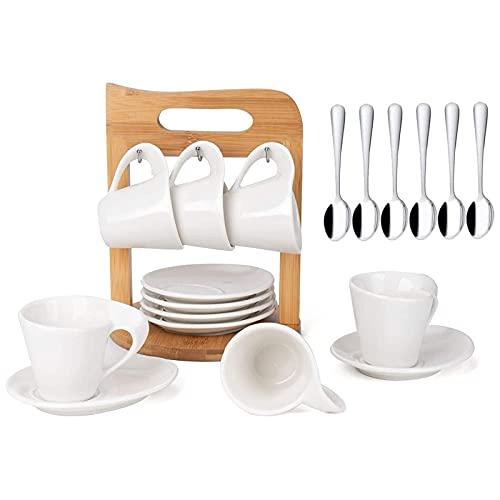 JUJOYBD Espressotassen Set mit Untertassen auf Ständer, Porzellan Espresso Tassen 80ml Kaffeeservice 6 Personen Teeservice (Bambushalter)