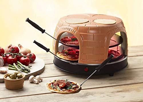 Emerio Pizzaofen, PIZZARETTE das Original, handgemachte Terracotta Tonhaube, patentiertes Design, für Mini-Pizza, echter Familien-Spaß für 8 Personen,...