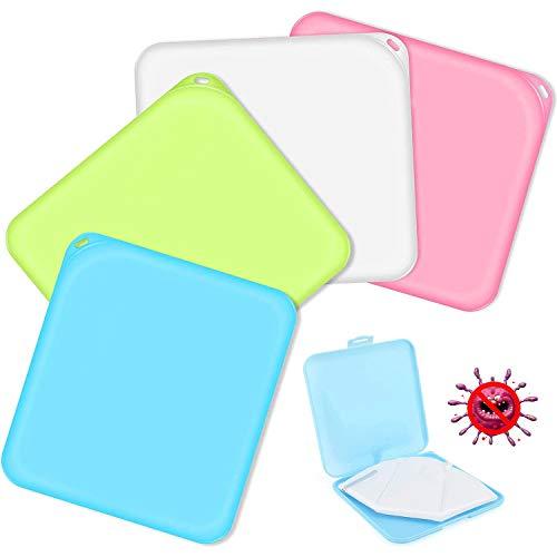 Masken Aufbewahrungstasche, 4 Stück Tragbare Maskenbox, Aufbewahrungsbox für Staubmasken, Masken Etui, ideal zur Aufbewahrung von Masken zur Vermeidung von...