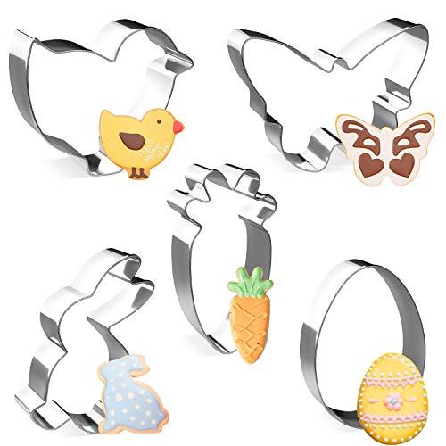Joyoldelf Ausstechförmchen Ostern, Plätzchen Ausstecher Osterplätzchen,Oster Ausstechformen Biskuitform von Küken, Kaninchen, Karotten, Schmetterlinge, Eier...