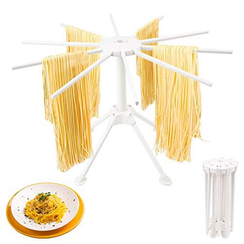 Nudeltrockner,Pastatrockner Nudeltrockner mit 10 Row Zusammenklappbare Nudeln WäSchestäNder,Nudeltrockner für Bis Zu 2kg Nudeln,Faltbar Spaghetti...