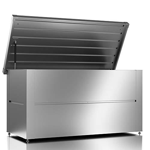 ILESTO Metall Kissenbox wasserdicht/ Gartenkiste Auflagenboxen/Garten box Aufbewahrungsbox Gartenauflagen Gerätebox 401 Liter Outdoor Schrank einfache Montage...