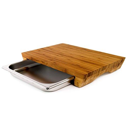 cleenbo® Schneidebrett mit Auffangschale Style Bamboo, Profi Holz Küchenbrett aus geöltem Bambus, Schneidbrett mit Gastro Auffangbehälter (Edelstahl...