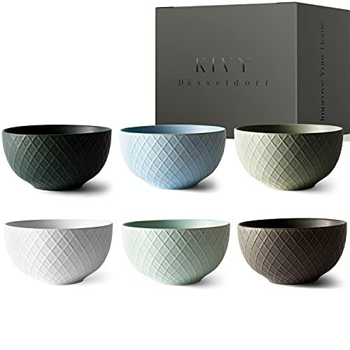 KIVY® Müslischalen Set [6 x 850 ml] - Extra Groß für Müsli, Suppen & Bowls - Müslischale Groß - Bowl Schüssel Set- Suppenschüsseln Groß -...