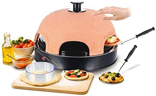 Emerio Pizzaofen, PIZZARETTE das Original, 1 handgemachte Terracotta Tonhaube, patentiertes Design, für Mini-Pizza, echter Familien-Spaß für 6 Personen,...