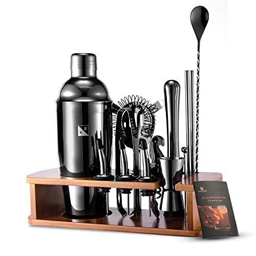 KITESSENSU Cocktail Shaker Set Barkeeper Kit mit Ständer | Bar Zubehör Drink Mixer Set zum Mixen von Getränken - Martini-Shaker, Jigger, Sieb, Mixer-Löffel,...