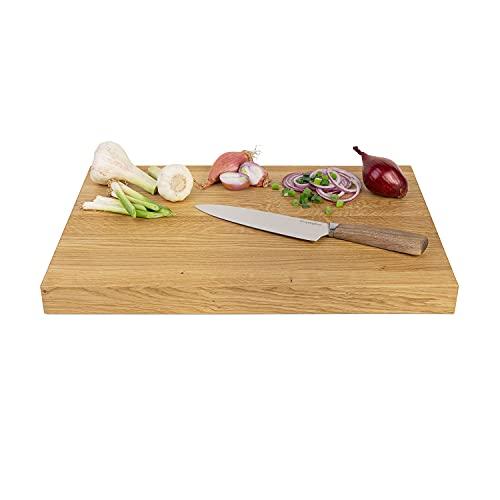 GreenHaus XXL Schneidebrett Eiche Holz 49x30x4 cm Handarbeit und Massivholz aus Deutschland Holzschneidebrett Servierbrett Holzbrett verleimt