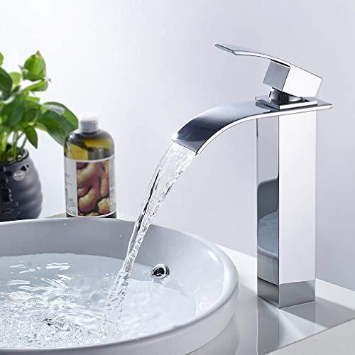 CECIPA Wasserhahn Bad Wasserfall,Hoch Waschtischarmatur für Badzimmer Waschamatur Waschbecken Armatur Bad,Messing Verchromt
