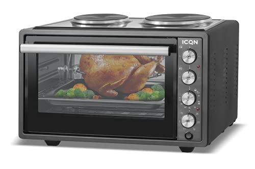 ICQN 42 Liter Minibackofen mit Kochplatten   3800 W   Umluft   Pizza-Ofen   Doppelverglasung   Drehspieß   inkl. Backblech Set   Elektrischer Mini Ofen  ...