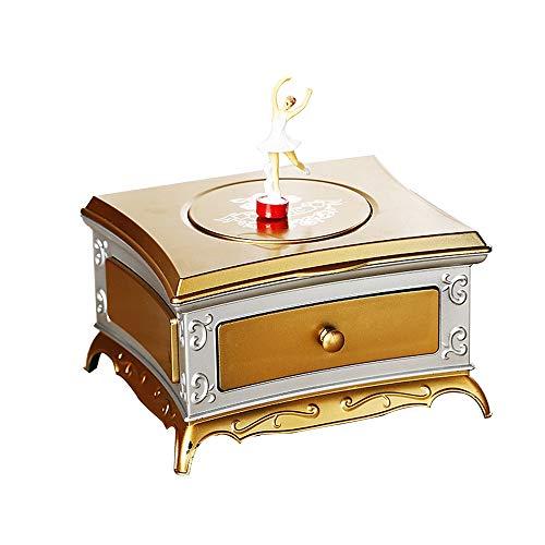 Hancoc Kreative Klassische Schminktisch Rotierende Mädchen Spieluhr Single Layer Schublade Aufbewahrungsbox Mit Kosmetikspiegel Geburtstagsgeschenk...