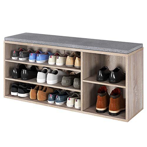 Homfa Sitzbank mit Sitzkissen Schuhregal braun Schuhtruhe aus Holz Schuhablage mit 3 Etagen Schuhbank für Flur 105x30x48cm