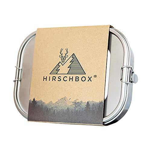 Hirschbox® Brotdose Premium Edelstahl - Verbesserte XL Edelstahl Frischhaltedose (1400ml) Metall Vesperdose +Trennwand – Auslaufsicher, Umweltfreundlich &...