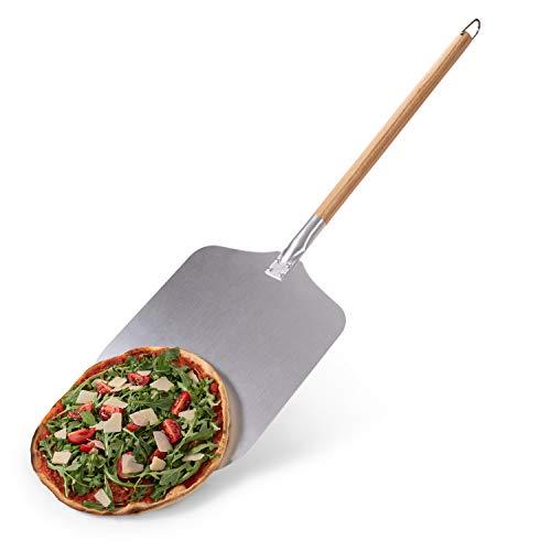 Blumtal Pizzaschieber mit großer Fläche - 30,5cm x 30,5cm, Pizzaschaufel Aluminium, Griff aus Holz 85cm