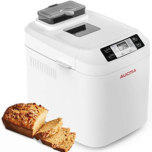 AUCMA Brotbackautomat Brotbackmaschine Brotbäcker 12 Backprogramme,Backmeister mit Automatische Zutatenbox,3 Versch Bräunungsgrade, ,Glutenfrei BPA-frei, LCD...