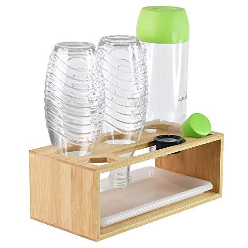 Flaschenhalter für SodaStream, Glasflaschen für Soda Stream Abtropfhalter Bambus, mit Abtropfschale und Pinsel, Geeignet für Eine Vielzahl von Flaschen, für...