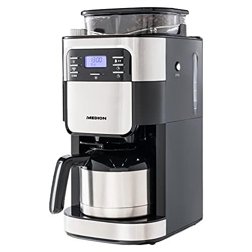 MEDION Kaffeemaschine mit Mahlwerk und Thermoskanne (Timer, 1 Liter, 900 Watt, Kaffeebohnenmahlwerk, 8 Mahlstufen, LED Display, Tropf Stopp, Isolierkanne,...