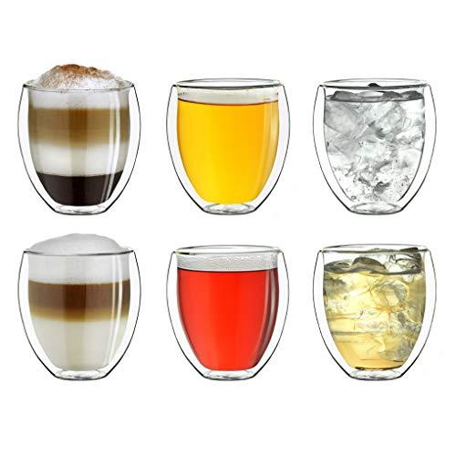 """Creano doppelwandige Gläser 250ml """"DG-Bauchig"""", 6er Set, großes Thermoglas doppelwandig aus Borosilikatglas, Kaffeegläser, Teegläser, Latte Gläser,..."""