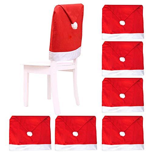 witgift Stuhlhussen für Weihnachten,6 stück Weihnachtsmütze Stuhl Hussen Weihnachtsdeko Stuhlabdeckung Weihnachtsschmuck Dinner Chair Cap Sets Stuhlbezug
