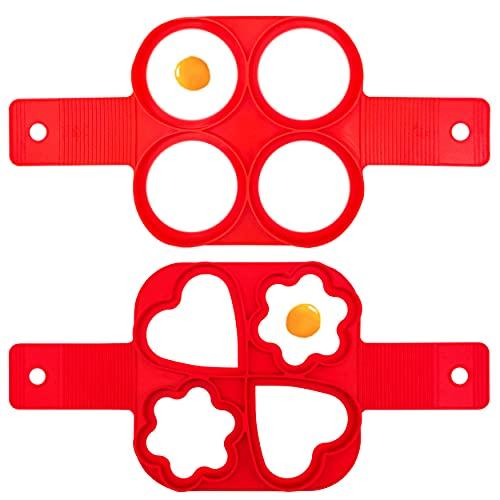 INHEMING Silikon Ei Ring Pfannkuchen Form, 4 Löcher Kuchenform Silikon Formen, Wiederverwendbare Non Stick Eierformer, Pancake Backformen Maker,2 Stück