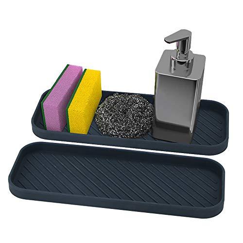 webake 2 Stück Spülbecken Organizer Waschbecken-Organizer Küchen Bad Organizer Silikon für Schwämme, Bürsten oder Seife Rutschfester Schwammhalter für...