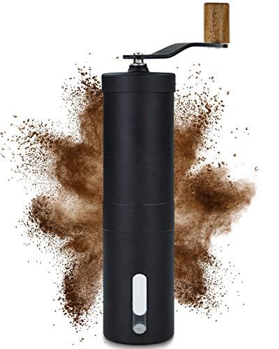 Lambda Coffee® Kaffeemühle manuell mit Keramikmahlwerk und Holz | Kaffeemühle Hand - Handkaffeemühle aus Edelstahl | Espressomühle | Präzise...
