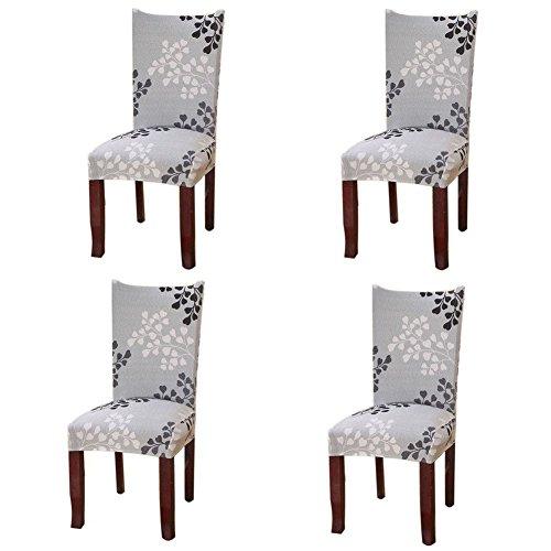 Fuloon Stuhlhussen 4er Set Universal Stretch Stuhlkissen Sessel überzug stuhlbezüge Protector Cover für Weihnachten Haus Esszimmer Moderne Hochzeit Bouquet,...