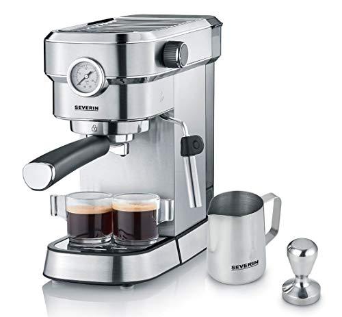 SEVERIN Espressomaschine 'Espresa Plus', Siebträgermaschine mit 3 Einsätzen, Kaffeemaschine mit Milchschäumer und Manometer, inkl. Barista-Starterset,...