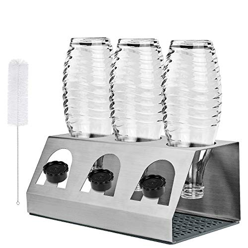 KING DO WAY Abtropfhalter Abtropfständer aus Edelstahl für Crystal und Emil Flaschen, Streambrush mit Deckelhalter Flaschenständer Herausnehmbare...
