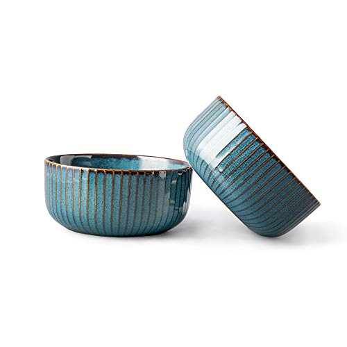 CSYY 2er Set Groß Müslischalen aus Porzellan,Suppenschüsseln,Keramik Schalen,Suppenschalen,Schüssel Retro Geschirr,Blau Serie(15.5CM)