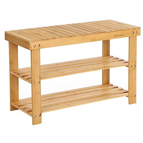 SONGMICS Schuhregal, Schuhschrank mit Sitzbank, Bambus Schuhbank mit 3 Ablagen, 70 x 28 x 45 cm ideal für Flur, Bad, Wohnzimmer, Diele, LBS04N