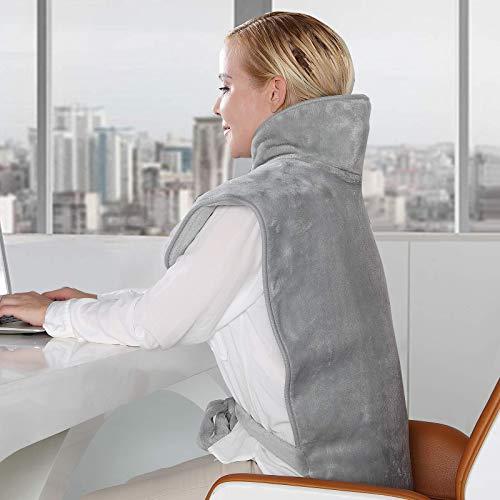 Heizkissen für Rücken Nacken und Schultern, 6 Stufen Temperatur Waschbar mit 1.5H Abschaltautomatik und schneller Heiztechnologie Überhitzungsschutz, 60 * 90...