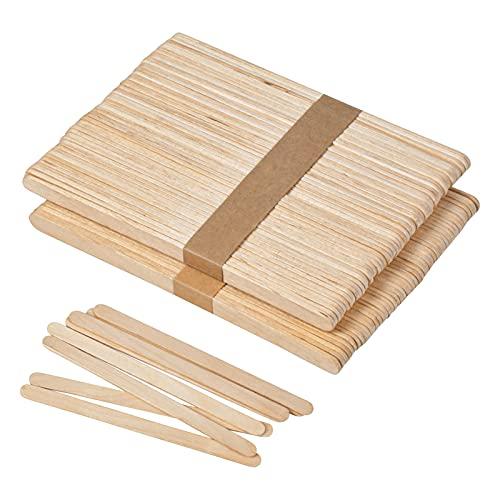 Chstarina 100 Stück Eisstäbchen mit Abgerundeten Enden,Eisstiele Aus Holz Holzspatel Holzstäbchen Zum Basteln Holzspachtel Holzstäbe Eisstiele aus Holz Zum...