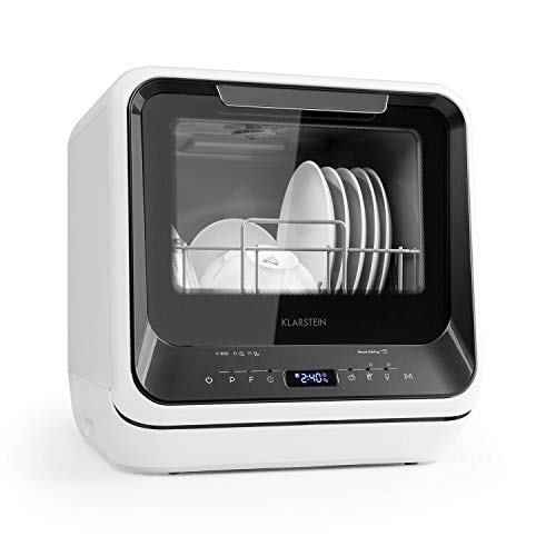 Klarstein Amazonia Mini Spülmaschine Geschirrspüler Geschirrspülmaschine, Platz für 2 Maßgedecke, 6 Programme, 5 Liter Wasser benötigt, LED-Display,...