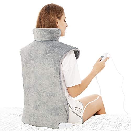 Heizkissen für Rücken Schulter Nacken 60x100cm Wärmekissen mit Abschaltautomatik, Schnelle Erwärmung, mit Taillenriemen, Rückenwärmer Heizdecke 3...