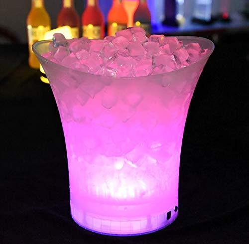 Ingjie LED Eiskübel, 5L RGB Großraum Flaschenkühler - Sektkühler - Weinkühler - Getränkekühler - Kühler Led Wasserdicht mit Farbwechsel, Für...