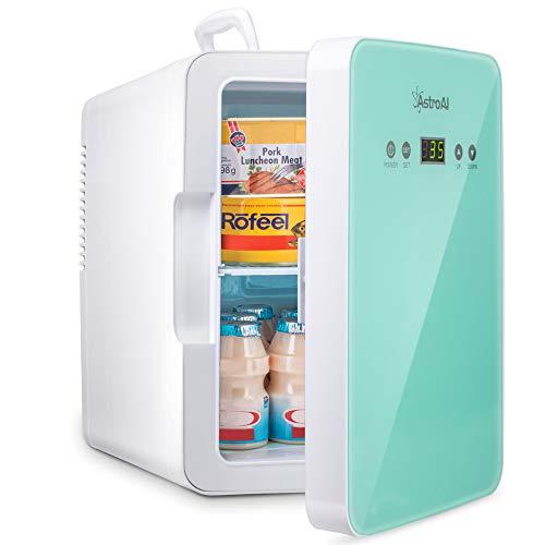 AstroAI Mini Kühlschrank 6 Liter / 8 Dosen Fridge mit Temperaturregelung - AC/12V(220V) DC Tragbarer thermoelektrischer Kühler und Wärmer für Schlafzimmer,...