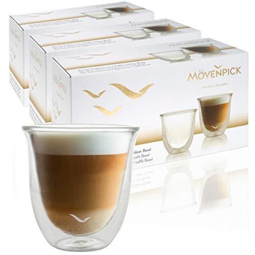 Mövenpick 6 x Cappuccino Gläser 220 ml - Spülmaschinengeeignete doppelwandige Gläser - Thermogläser geeignet als Teegläser und Kaffeegläser