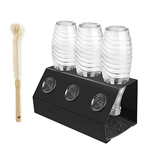 Baker Boutique Flaschenhalter für Sodastream Crystal 3er Abtropfständer Edelstahl Emil SodaFlasche StreambrushAbtropfschale mit Deckelhalterund...