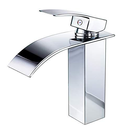 Wasserhahn Bad,wasserfall Wasserhahn Badezimmer Waschbecken,Einhandmischer Spülbecken Waschtischarmaturen,Kaltes und Heißes Wasser Vorhanden, Messing...