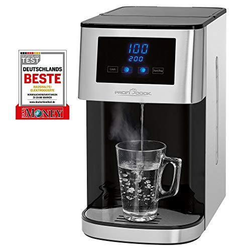 Profi Cook PC-HWS 1145 Heißwasserspender, Edelstahlgehäuse, heißes Wasser auf Knopfdruck in circa 3 Sekunden, LED-Display mit Sensor Touch-Bedienung, 2600...