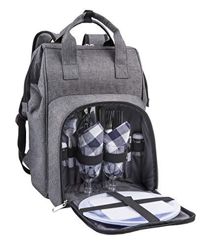 Eono by Amazon - 2 Personen Picknickrucksack Kühltasche mit Geschirrset & Decke
