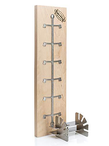 Axtschlag Flammlachsbrett Essential Line Birkenholz extrastark, 4-Fach verstellbare Halterung aus Edelstahl für Feuerschale, Feuertonne, Feuerkorb