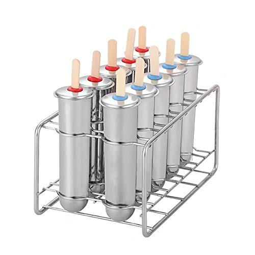 TOOGOO Edelstahl Popsicle Formen Eiscreme Sticks Pinsel für Zuhause DIY Obst Innovative EIS R?Hre Formen 10 Formen