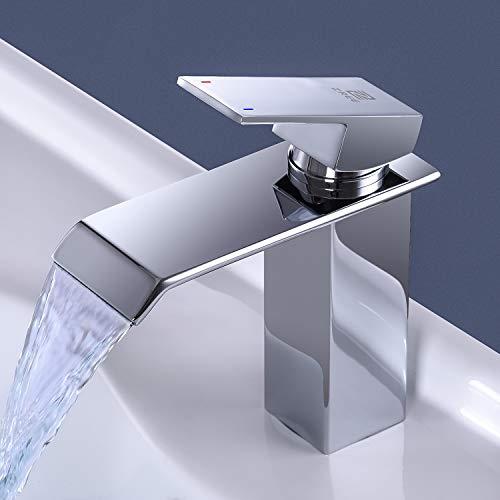 ZREE Wasserfall Waschtischarmatur, Wasserhahn Bad Chrom, Kaltes und Heißes waschamatur waschbecken, Wasserhahn Waschbecken für Badezimmer, Einhandmischer...