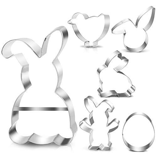 Plätzchen Ausstecher Ostern, 6 Stück Ausstechformen Ostern Set, Ei Hase Plätzchenform Keksform, keksausstecher Ostern, Ideales Ostergeschenk für...