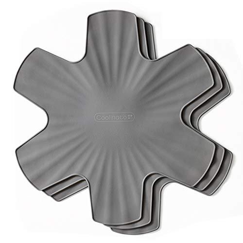 Coolinato Pfannenschoner aus Silikon 3er Set Topfschutz Stapelschutz für Pfannen, Spülmaschinenfest, 35 cm, grau