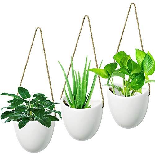 Hyselene 3 Stück Blumentopf Hängend, Wandvase Keramik Weiß Deko Wand Blumentopf, Hängeampeln Deko für Zimmerpflanzen, Sukkulenten, Luftpflanzen, Kakteen,...